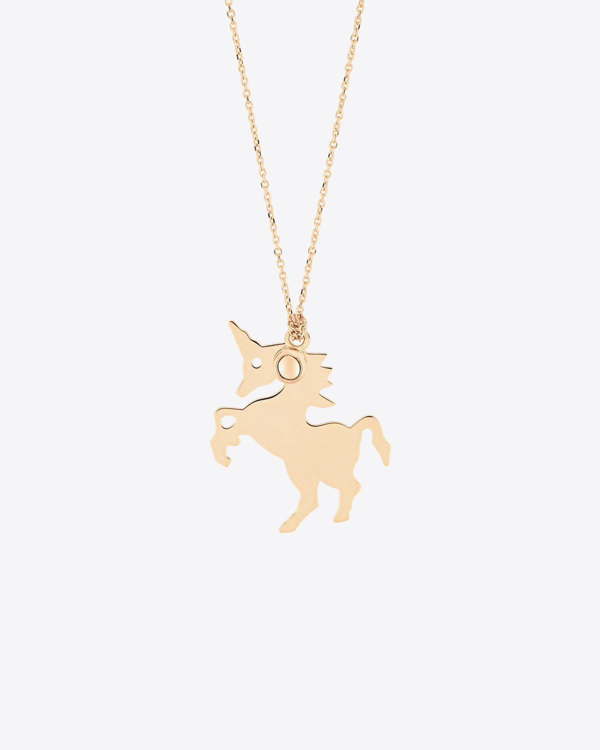 Ginette NY Ginette - Little unicorn & bead on chain Or Rose 18K