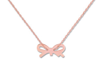 Ginette NY Mini bow on chain - Or Rose 18K