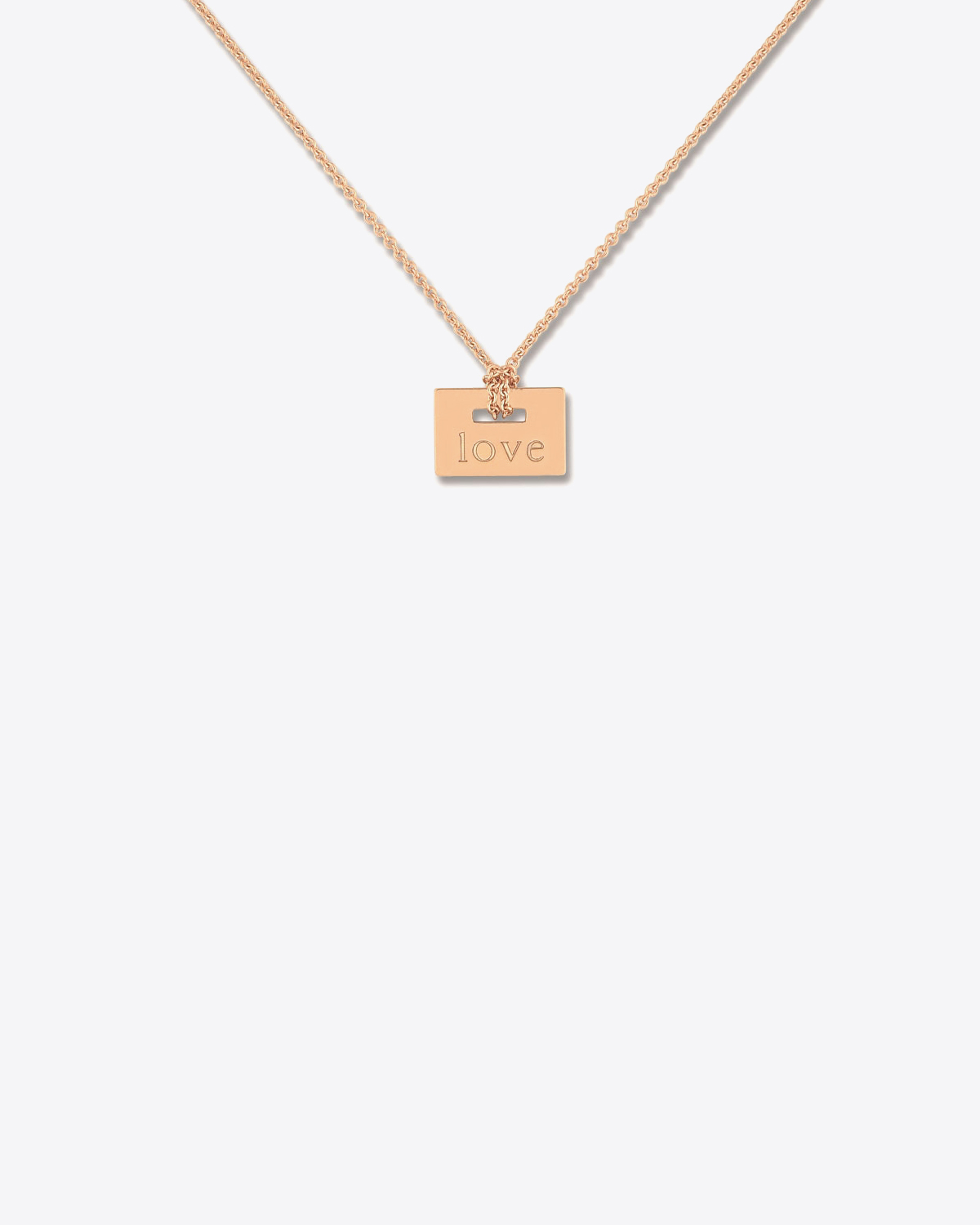 Ginette NY Mini plate love on chain - Or Rose 18K