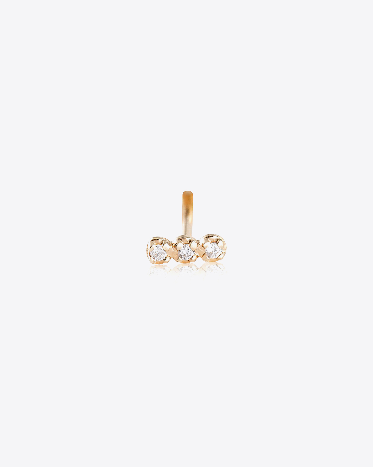 Ginette NY Solo Diamond Strip studs - Or Rose 18k