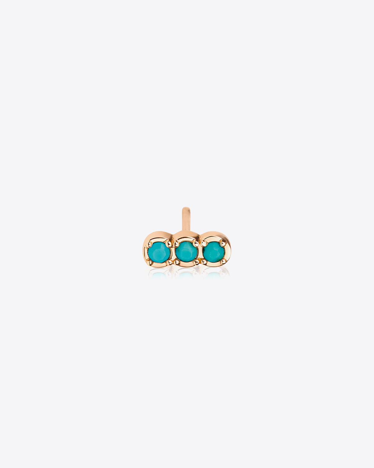 Ginette NY Solo Fallen sky strip stud Turquoise - Or Rose 18k