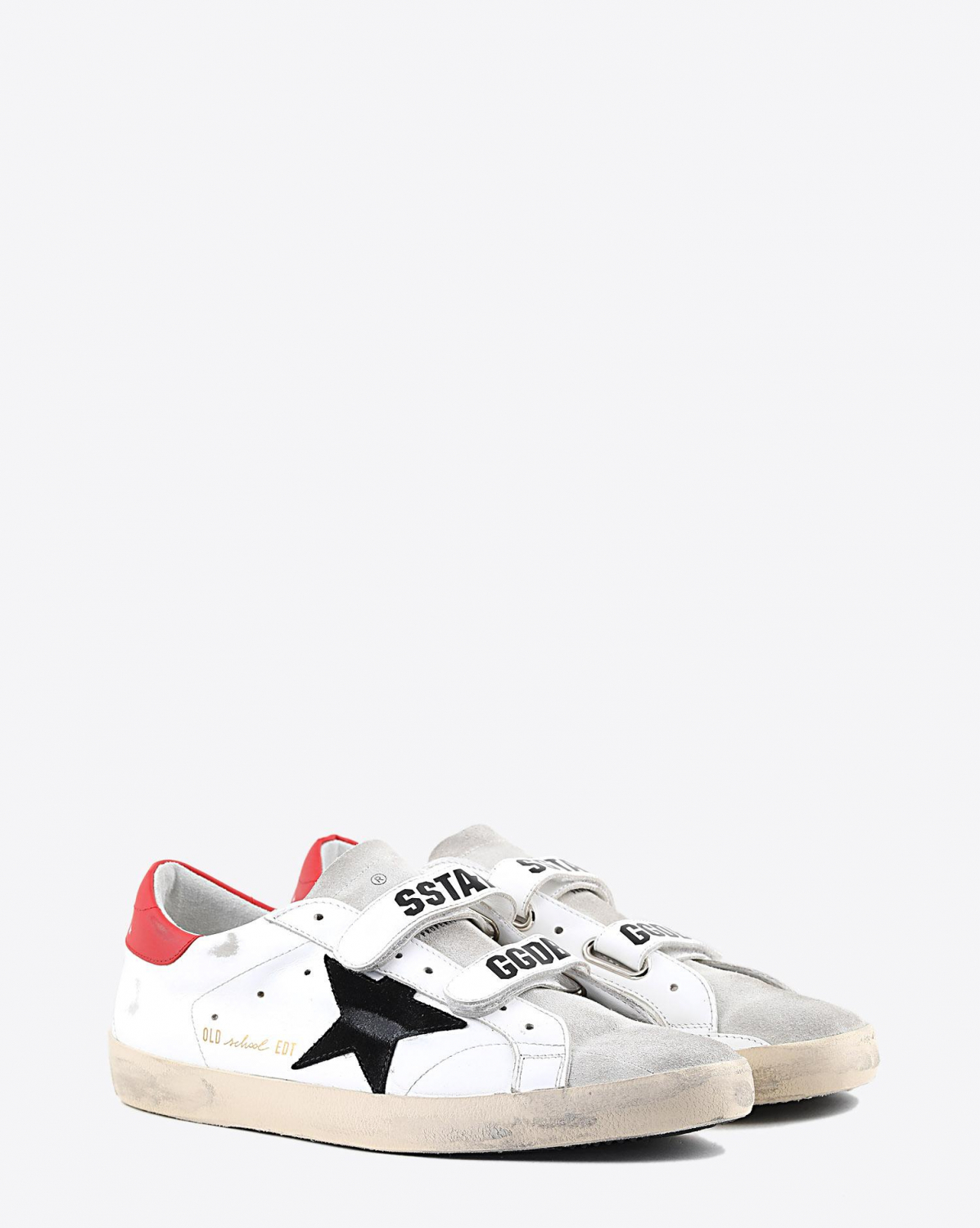 Golden Goose Men Old School - White Leather Black Star - Red 80490
