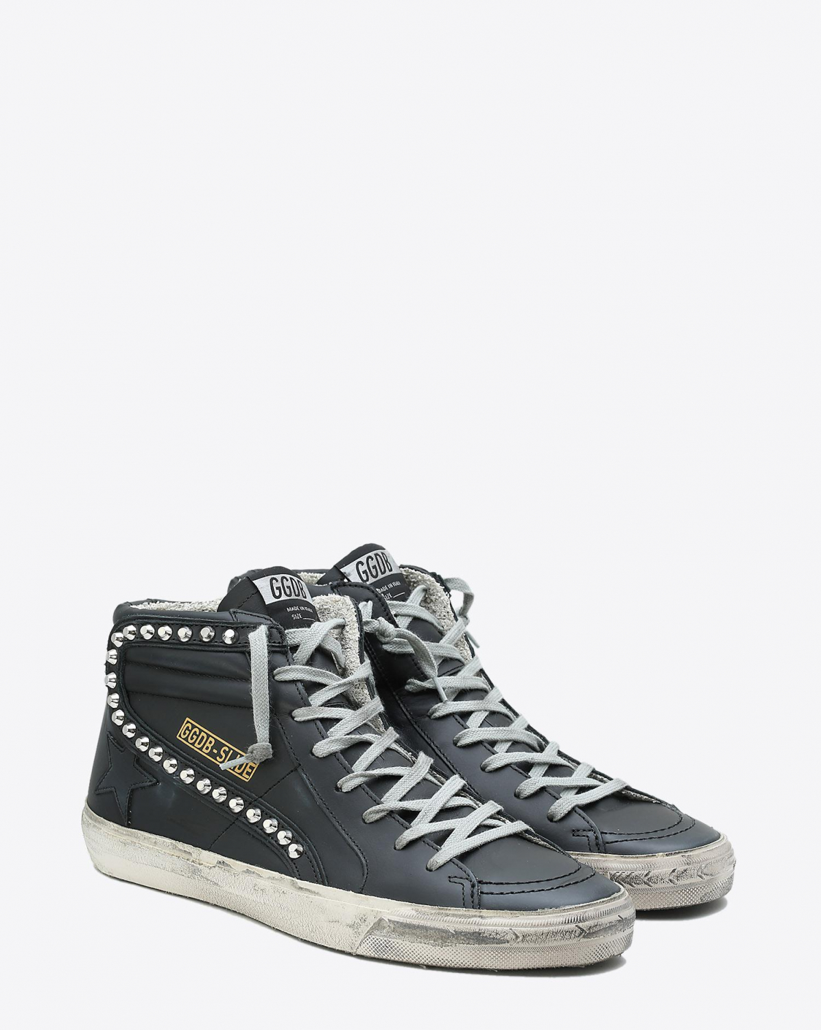Golden Goose Men Permanent Sneakers Slide - Black Leather Studs