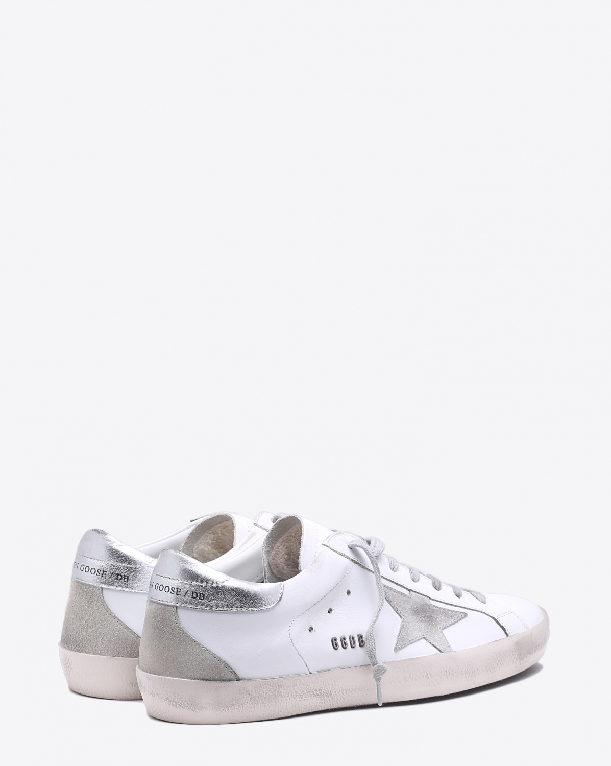 Golden Goose Men Permanent Sneakers Superstar - White Silver Metal Lettering