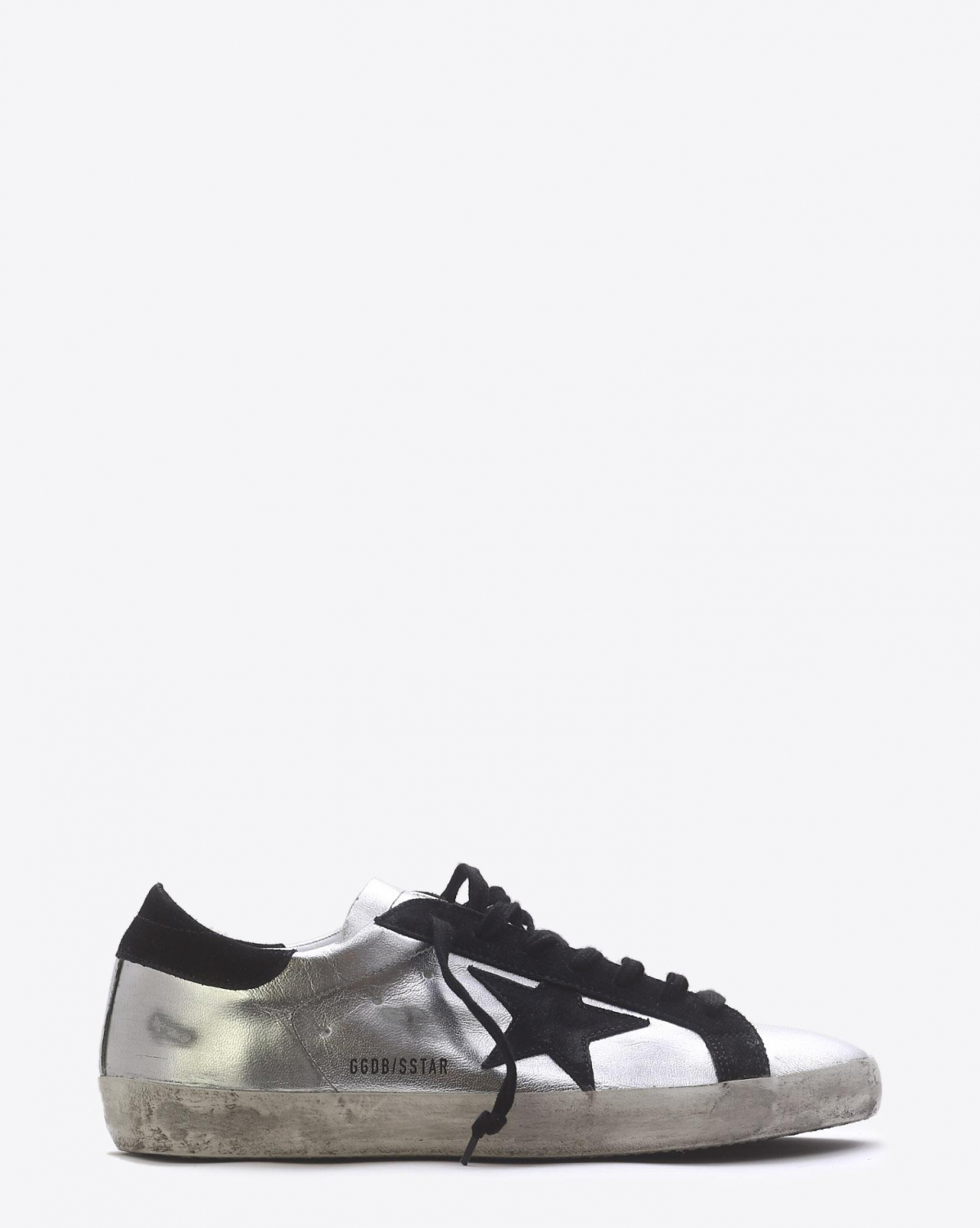 Golden Goose Men Permanent Sneakers Superstar Silver Black Leather