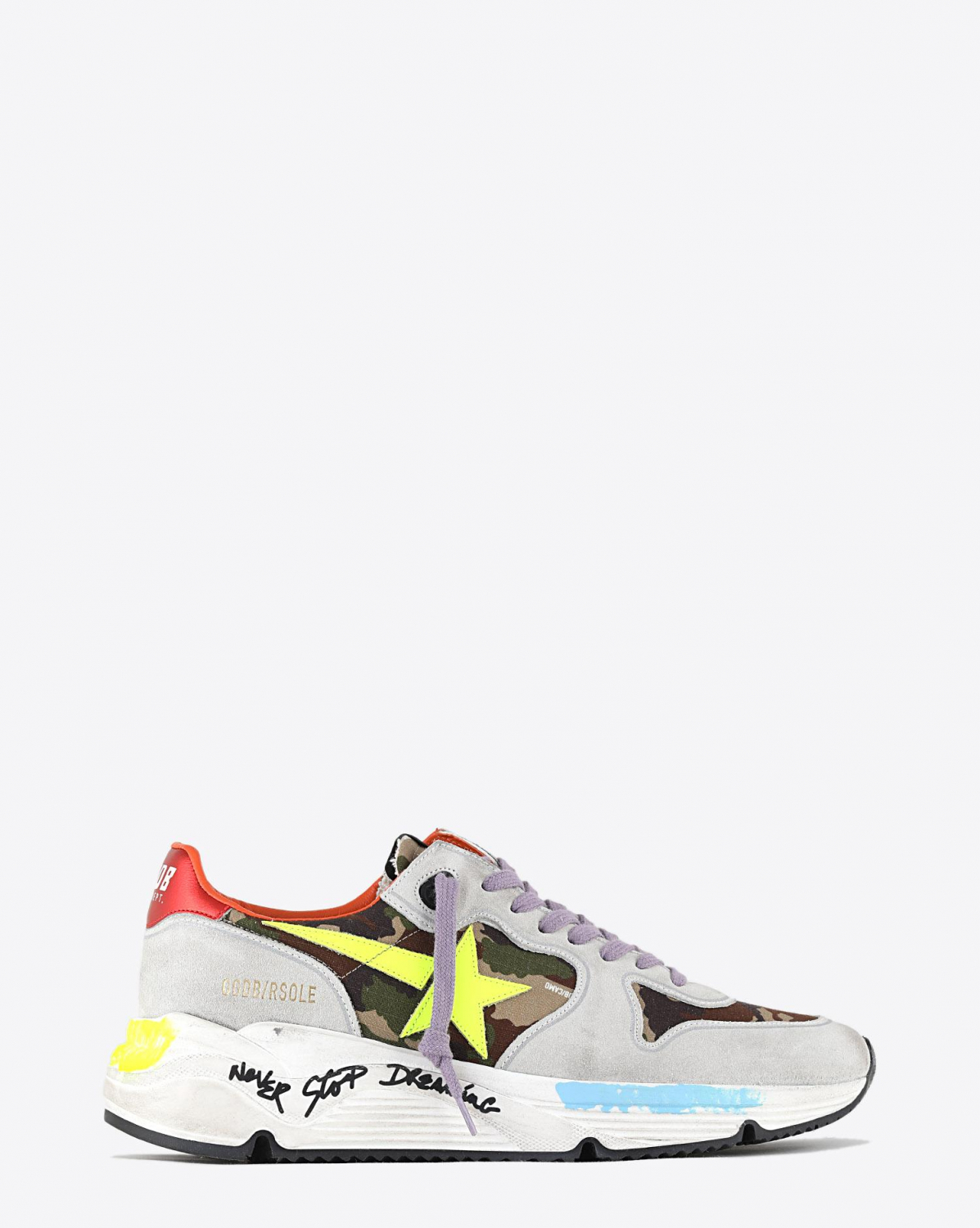 Golden Goose Men Running Sole - Green Camouflage Yellow Fluo Star 80367