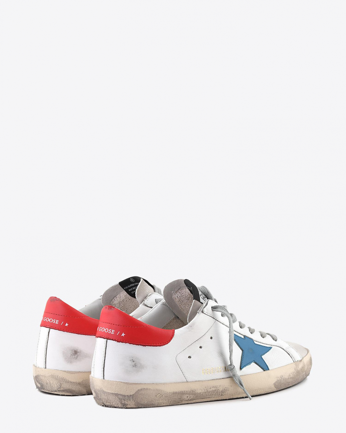 Golden Goose Men Sneakers Superstar - White Leather - Blu Star - Red Leather