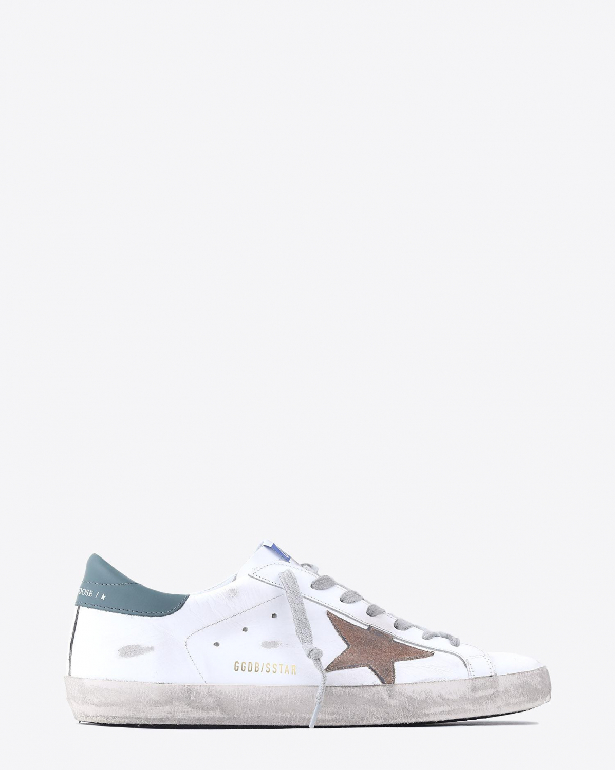 Golden Goose Men Sneakers Superstar - White Leather - Nude Suede Star