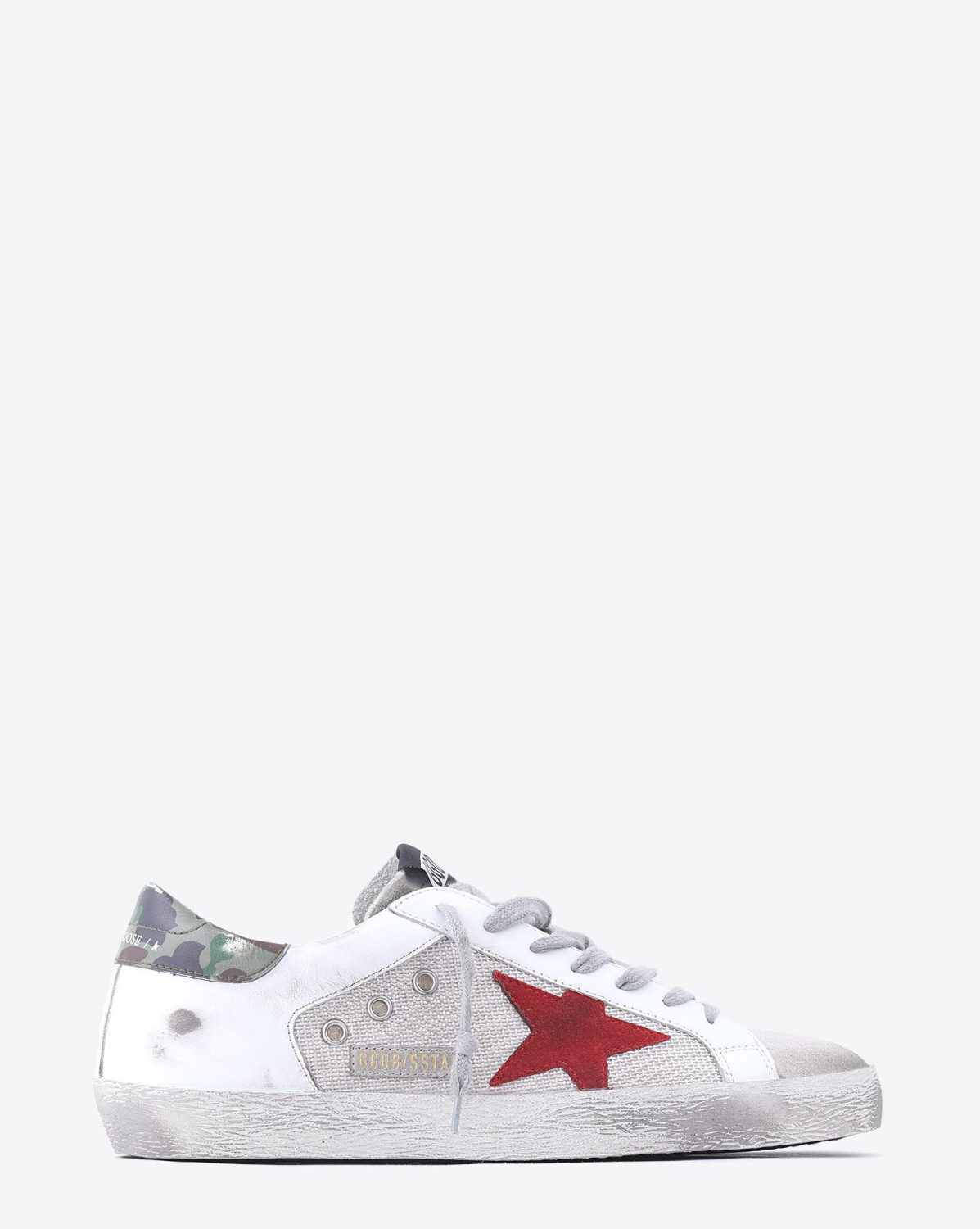 Golden Goose Men Sneakers Superstar - White Leather - Silver Mesh - Red Star