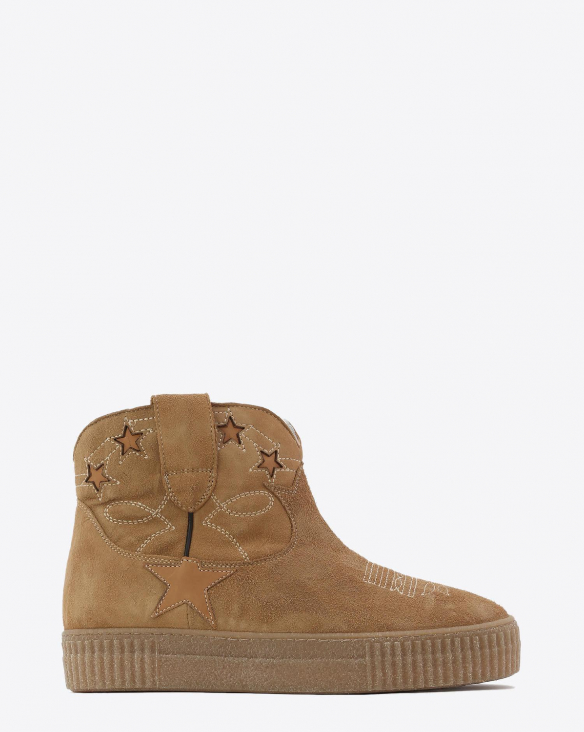 Golden Goose Woman Chaussures Collection Boots Sneak Slow - Camel Suede Shearling
