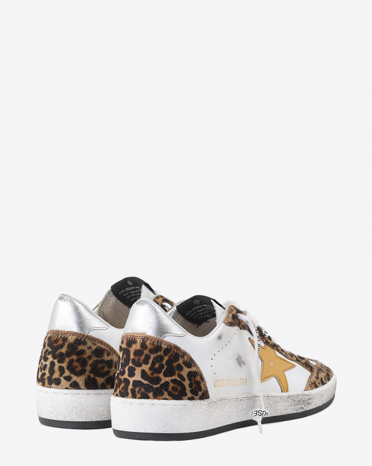 Golden Goose Woman Collection Sneakers Ball Star - Horsy Leopard - Gold Laminated Star - Logo Lace
