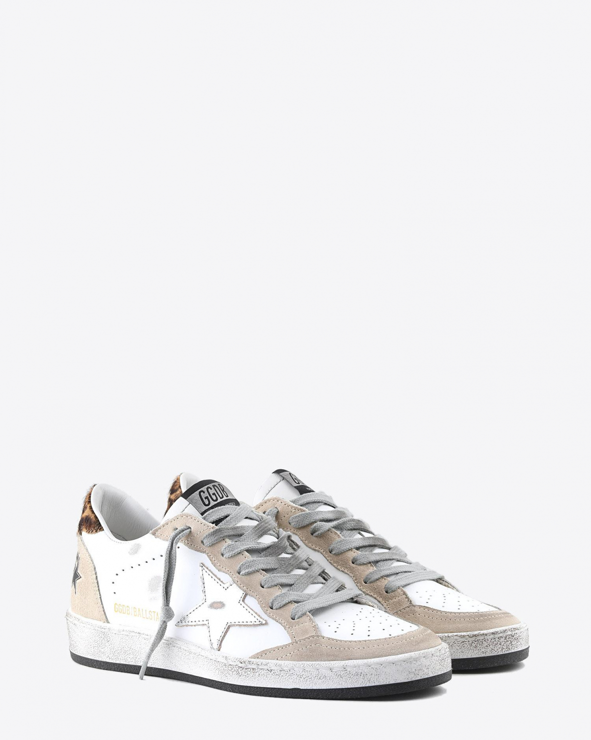 Golden Goose Woman Collection Sneakers Ball Star - Pearl Suede - Horsy - Silver Laminated Star