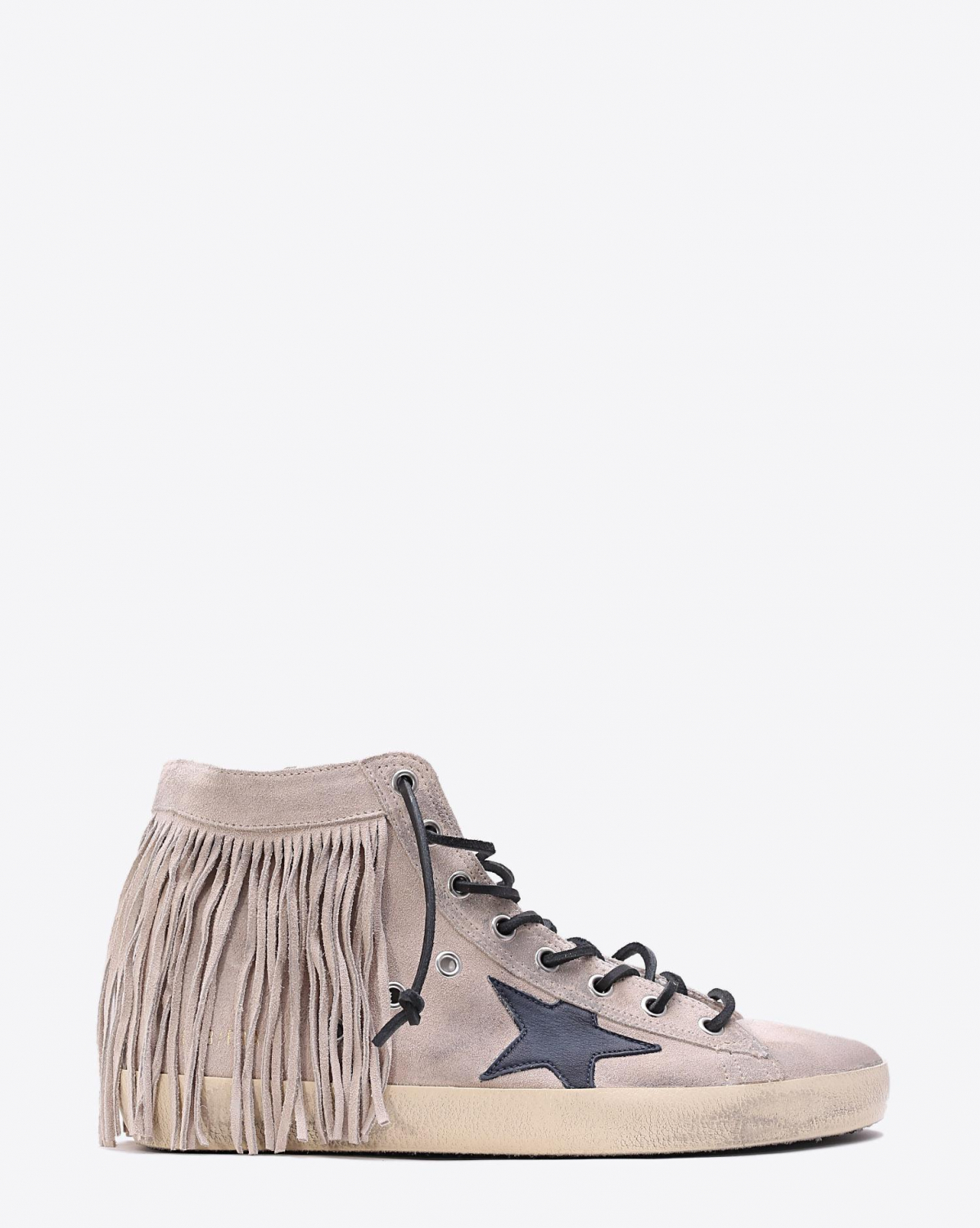 Golden Goose Woman Collection Sneakers Francy Sand suede  Sand Fringe