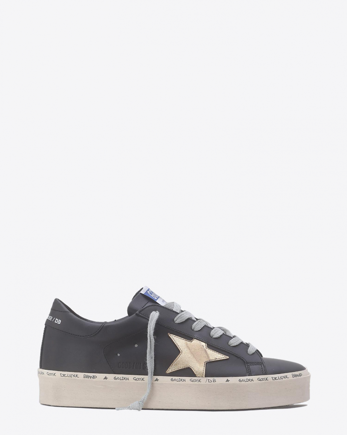 Golden Goose Woman Collection Sneakers Hi Star - Black  Gold Leather Star