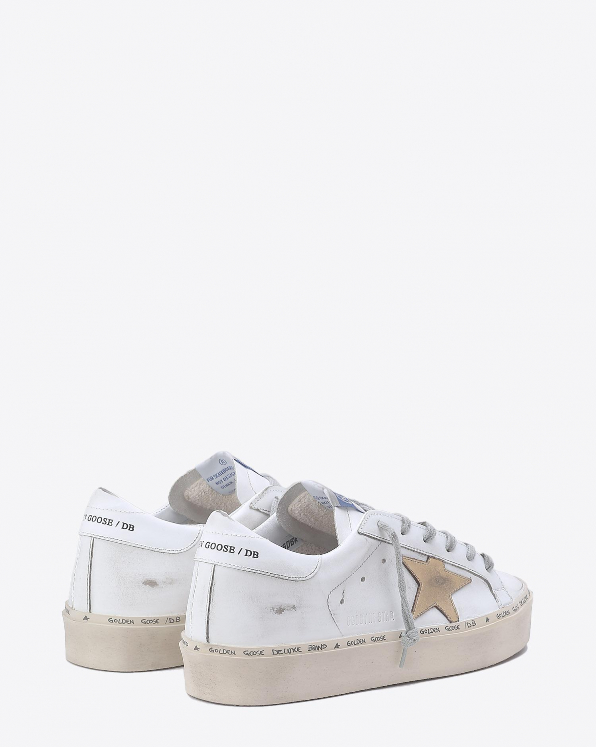 Golden Goose Woman Collection Sneakers Hi Star - White  Gold Leather Star