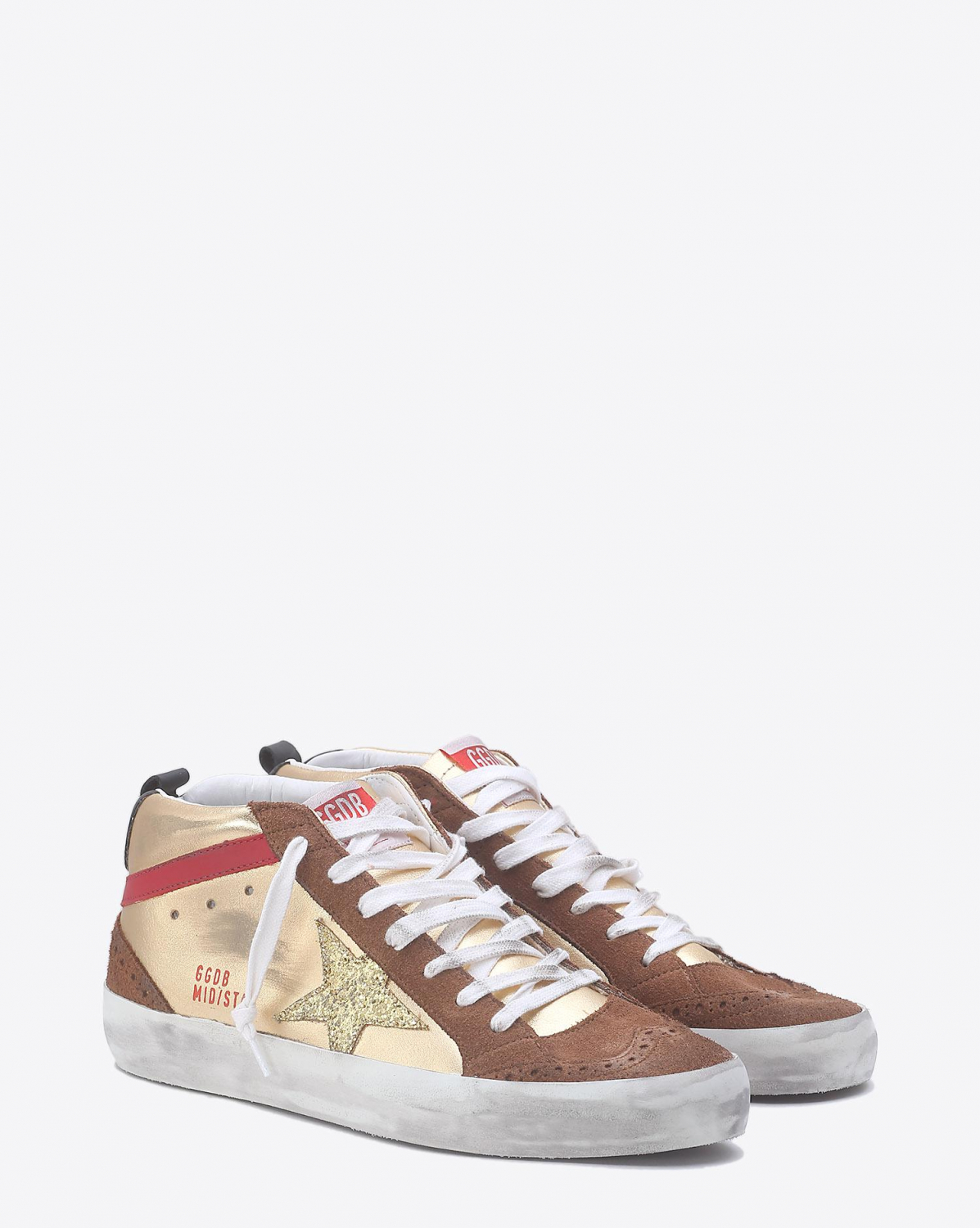 Golden Goose Woman Collection Sneakers Mid Star - Gold Laminated  Gold Glitter Star