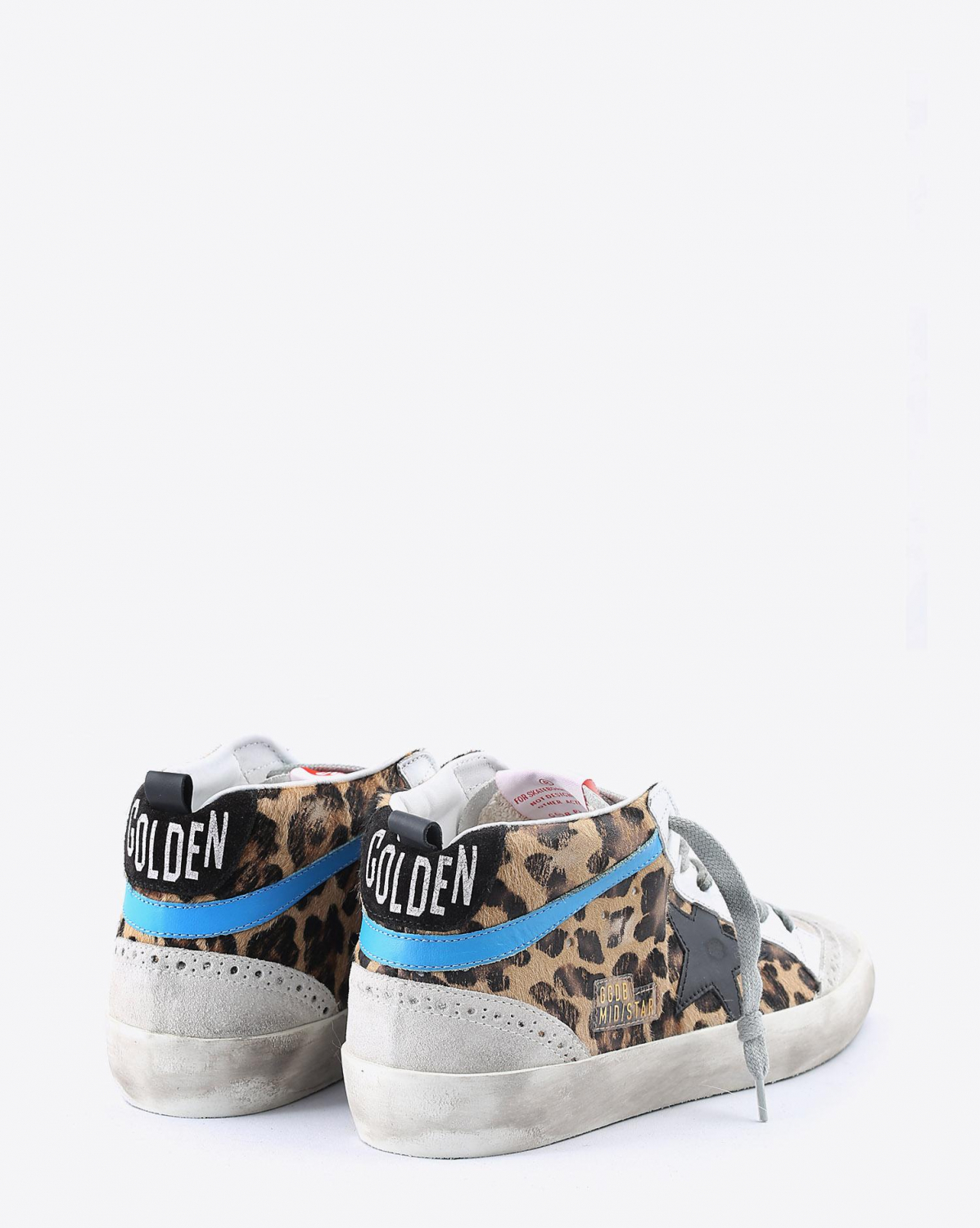 Golden Goose Woman Collection Sneakers Mid Star - Leopard Pony - Black Star