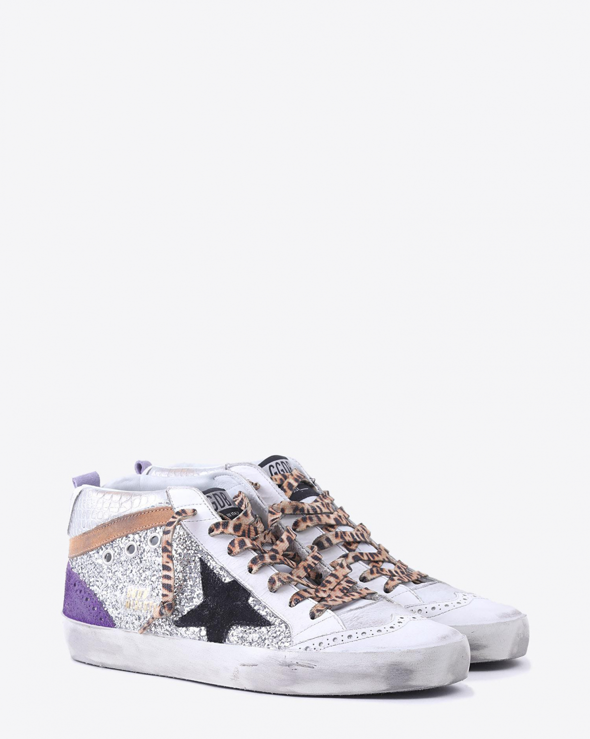 Golden Goose Woman Collection Sneakers Mid Star - White Nabuk - Silver Glitter - Leopard Lace