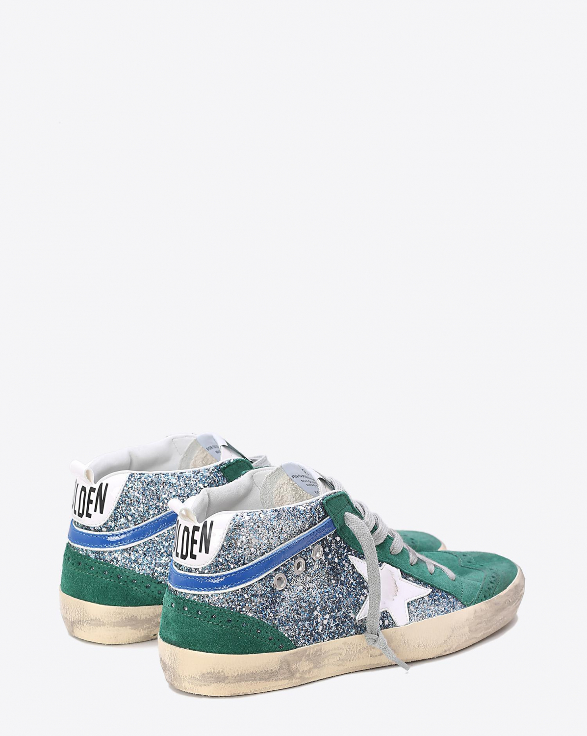 Golden Goose Woman Collection Sneakers Mid Star Green Glitter White Patent Star