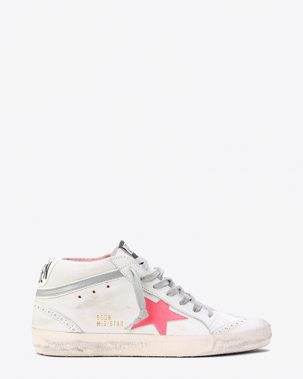 Golden Goose Woman Collection Sneakers Mid Star White Used Pink Patent