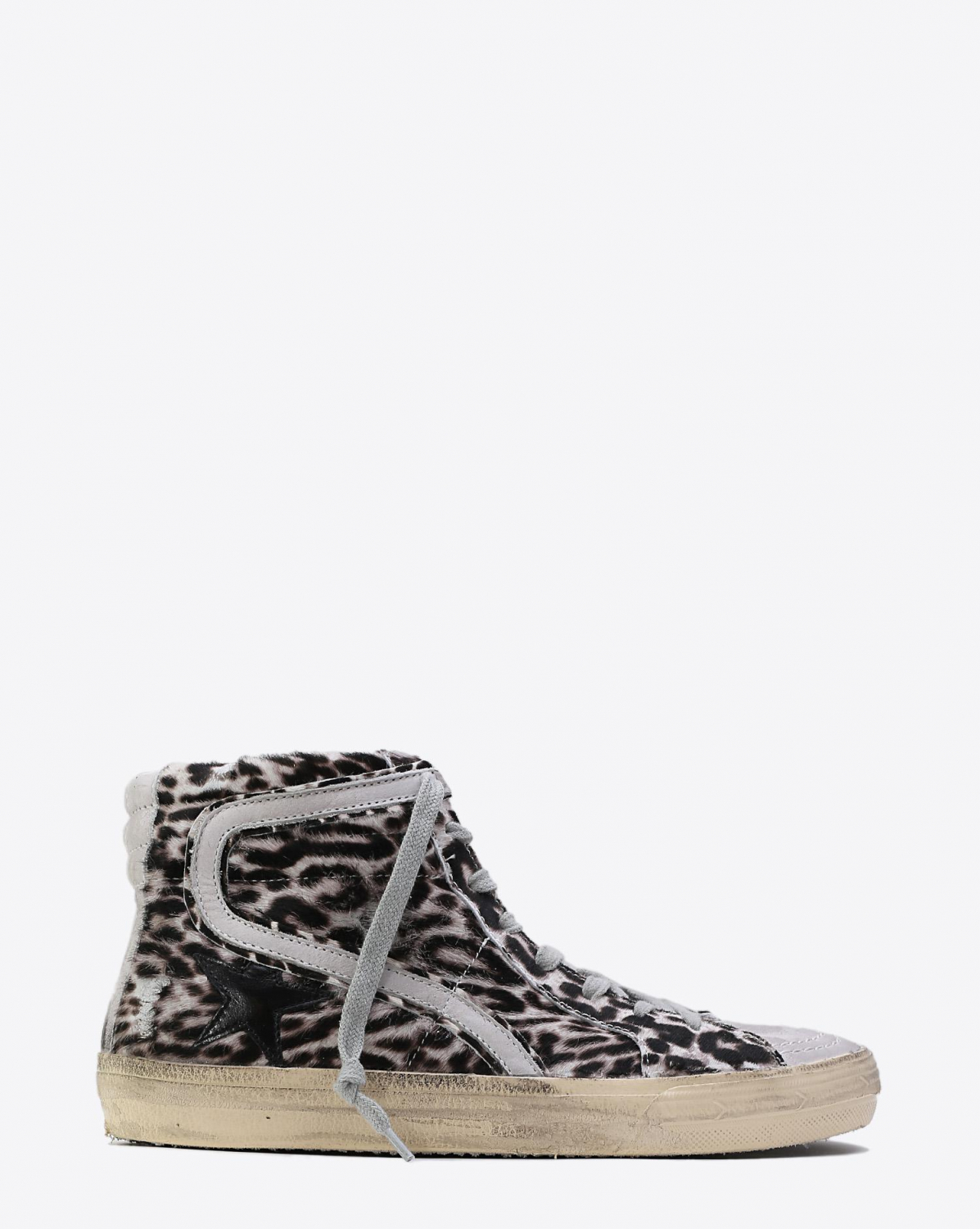 Golden Goose Woman Collection Sneakers Slide White Black - Leopard Pony