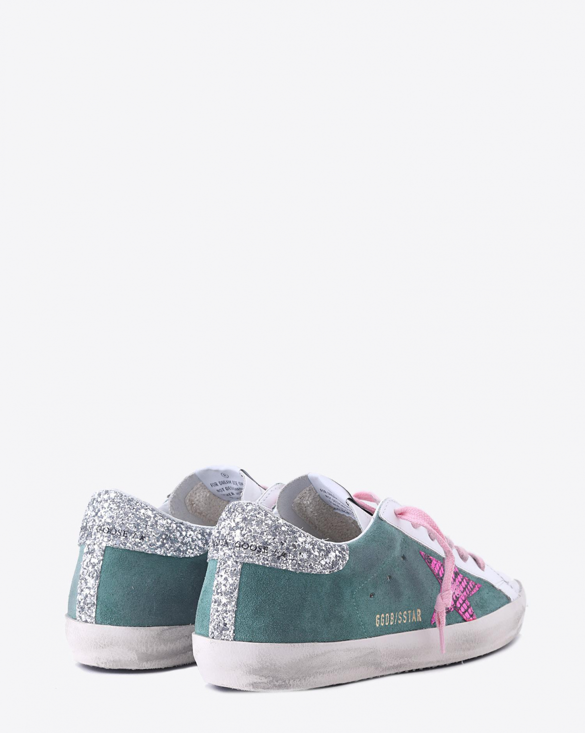 Golden Goose Woman Collection Sneakers Superstar - Green Leather - Printed Fuxia Python Star