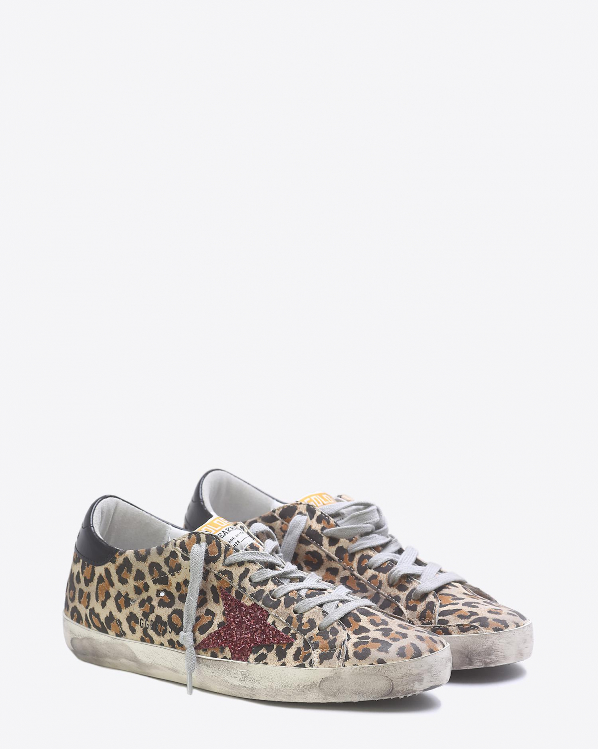 Golden Goose Woman Collection Sneakers Superstar - Leopard SuedeRed Glitter Star