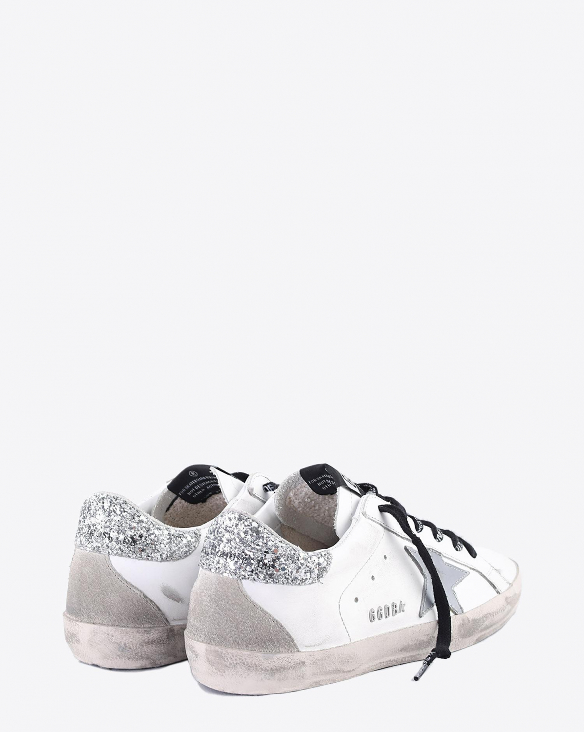 Golden Goose Woman Collection Sneakers Superstar - White - Silver Glitter - Metal Lettering