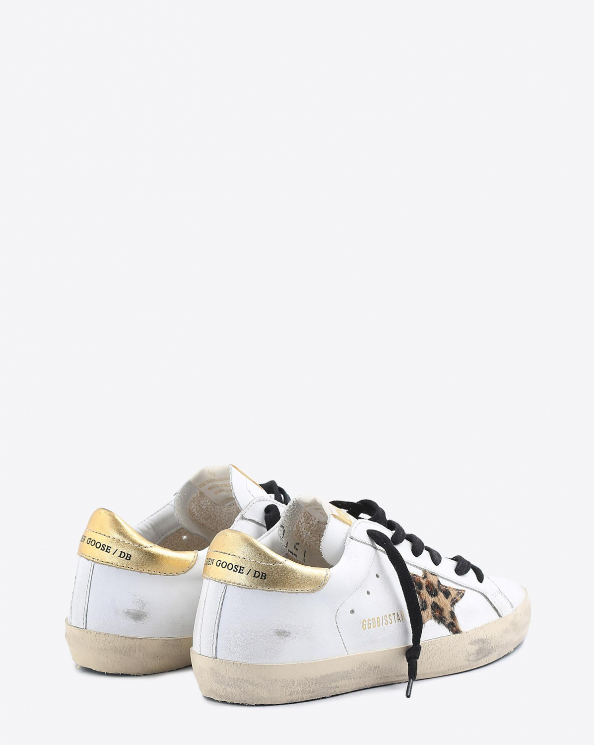 Golden Goose Woman Collection Sneakers Superstar - White Leather - Gold - Leopard Star
