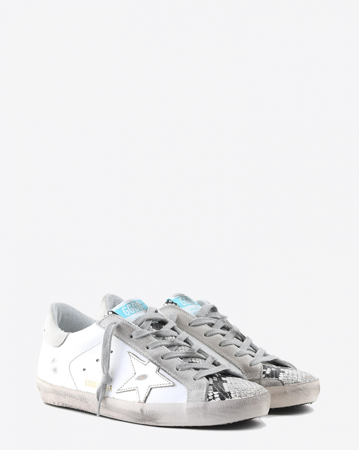 Golden Goose Woman Collection Sneakers Superstar - White Leather - Printed Python - Ice Star