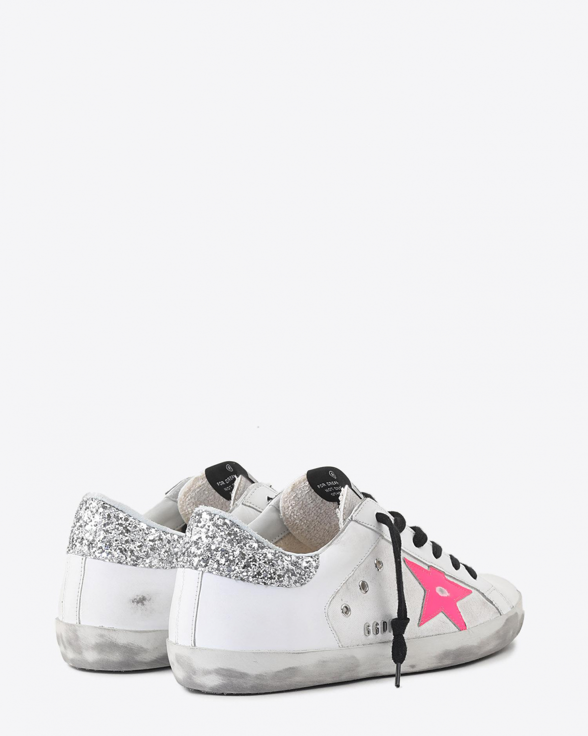 Golden Goose Woman Collection Sneakers Superstar - White Leather - White Canvas - Pink Star
