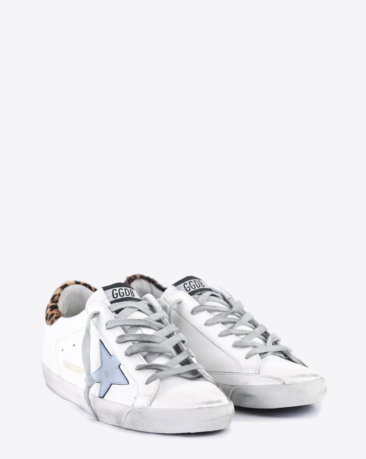 Golden Goose Woman Collection Sneakers Superstar - White Leopard - Night - Blue Star