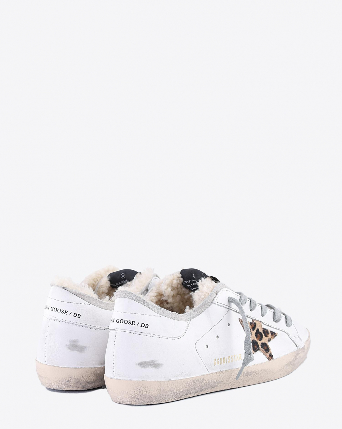 Golden Goose Woman Collection Sneakers Superstar - White Shearling Sock - Leopard Star