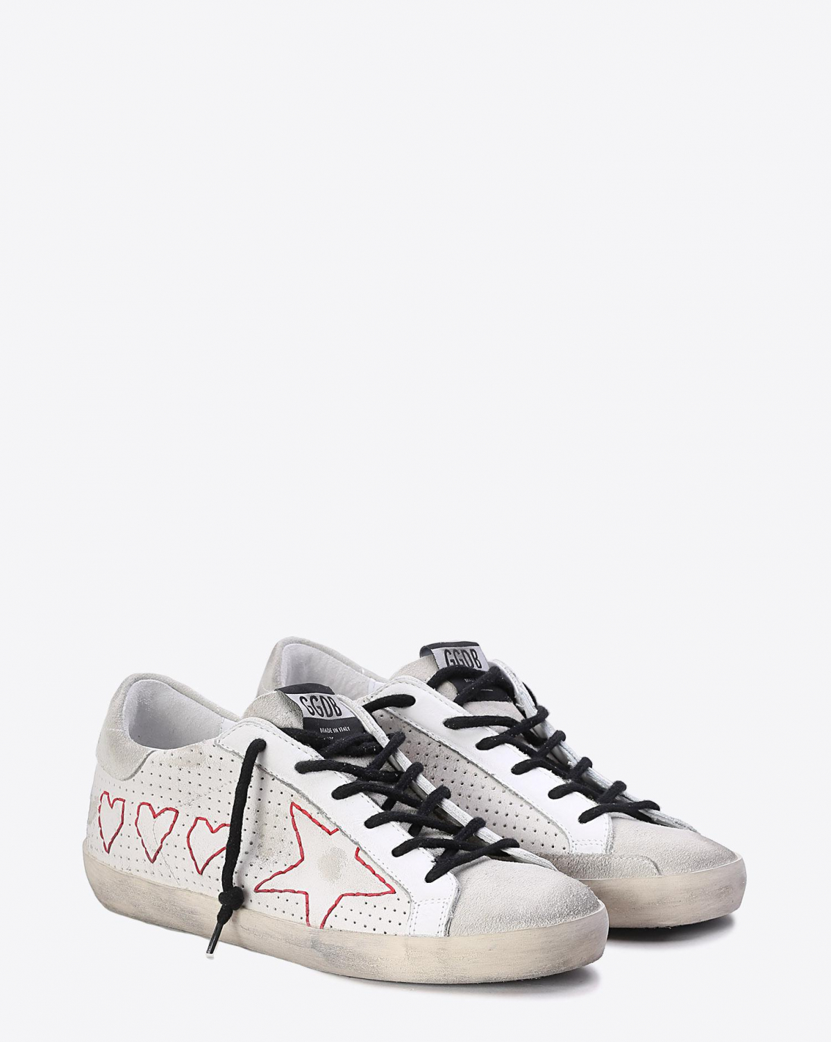 Golden Goose Woman Collection Sneakers Superstar White Leather - 3 Hearts And 1 Star