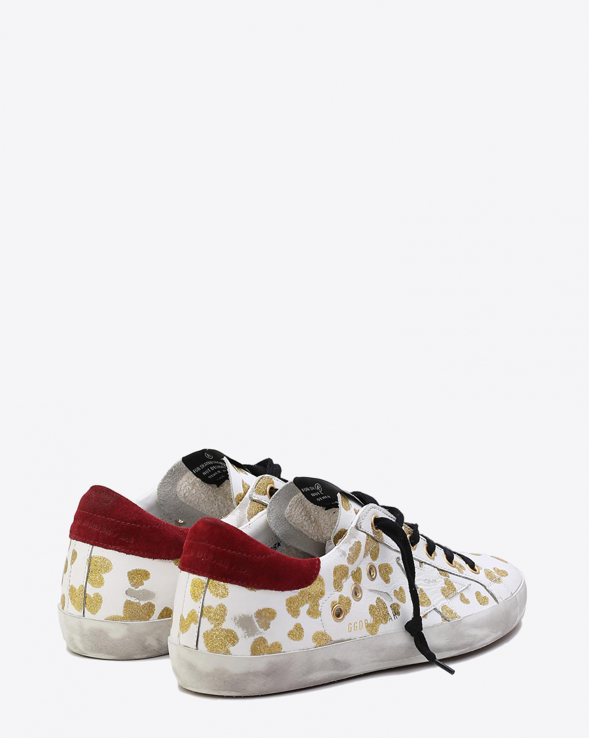 Golden Goose Woman Collection Sneakers Superstar White Leather - Gold Drifted Hearts