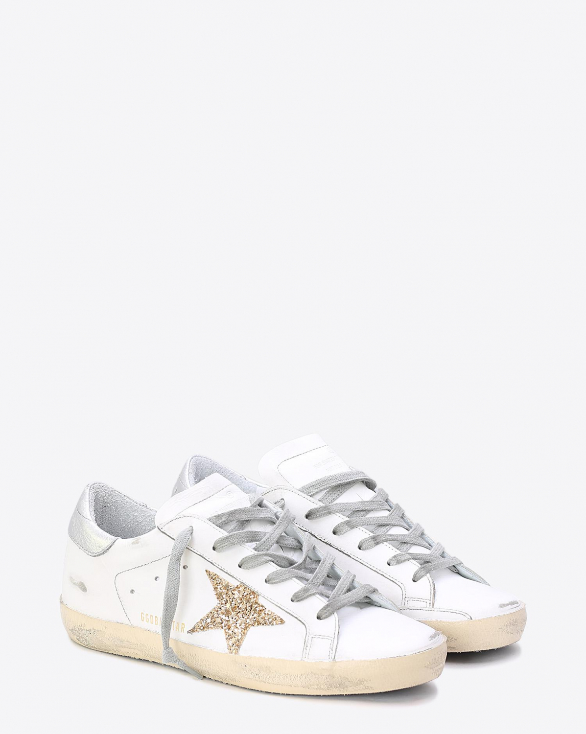 Golden Goose Woman Collection Sneakers Superstar White Leather Gold Glitter