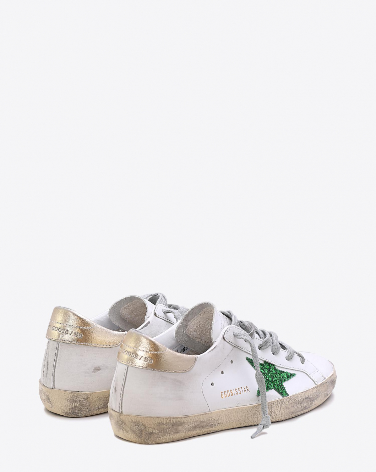 Golden Goose Woman Collection Sneakers Superstar White Leather Green Glitter