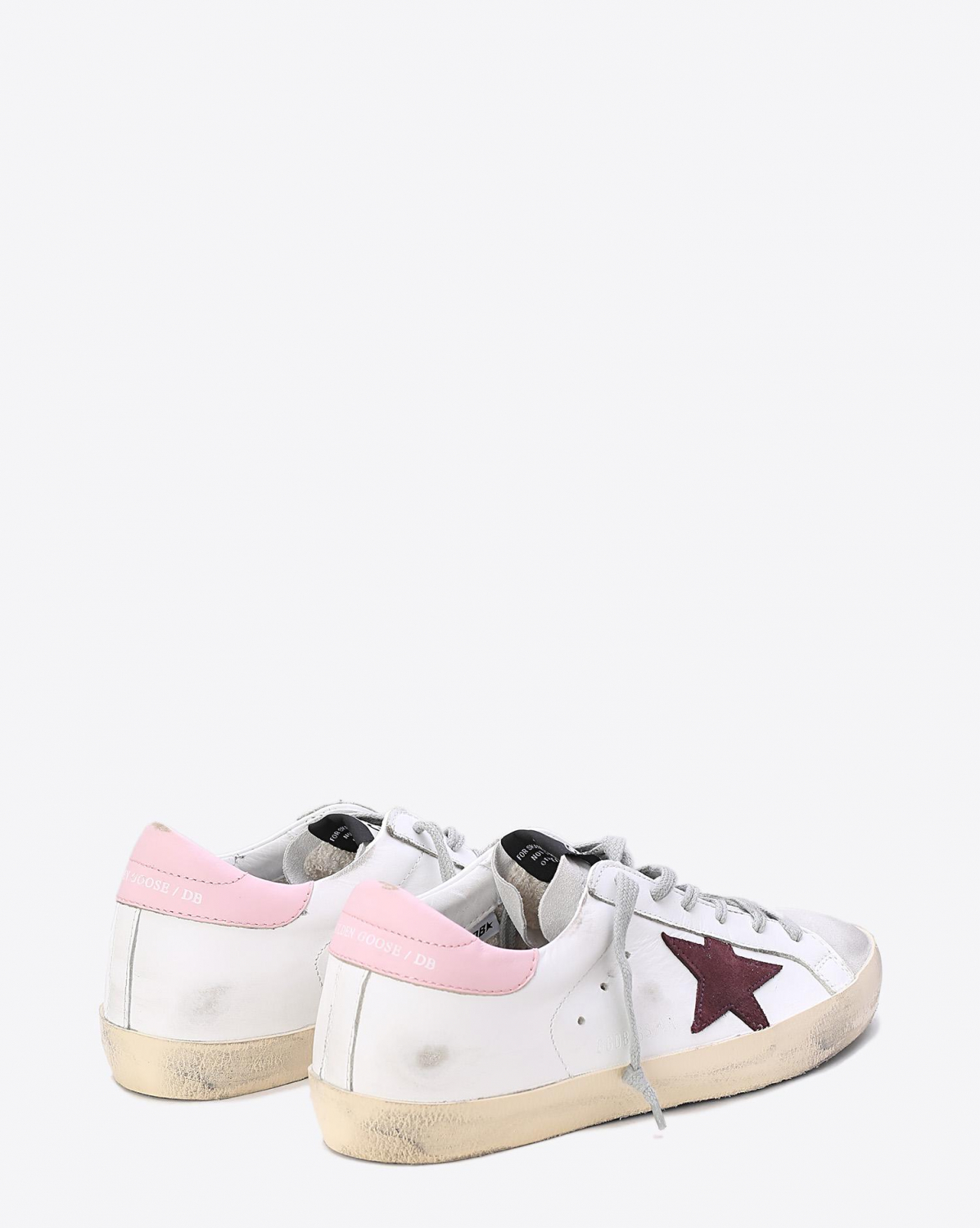 Golden Goose Woman Collection Sneakers Superstar White Pink Bordeaux Star