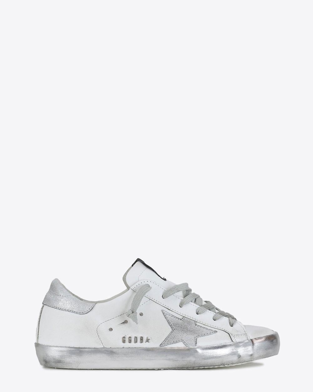 Golden Goose Woman Permanent Sneakers Superstar - White - Silver Star Sparkle