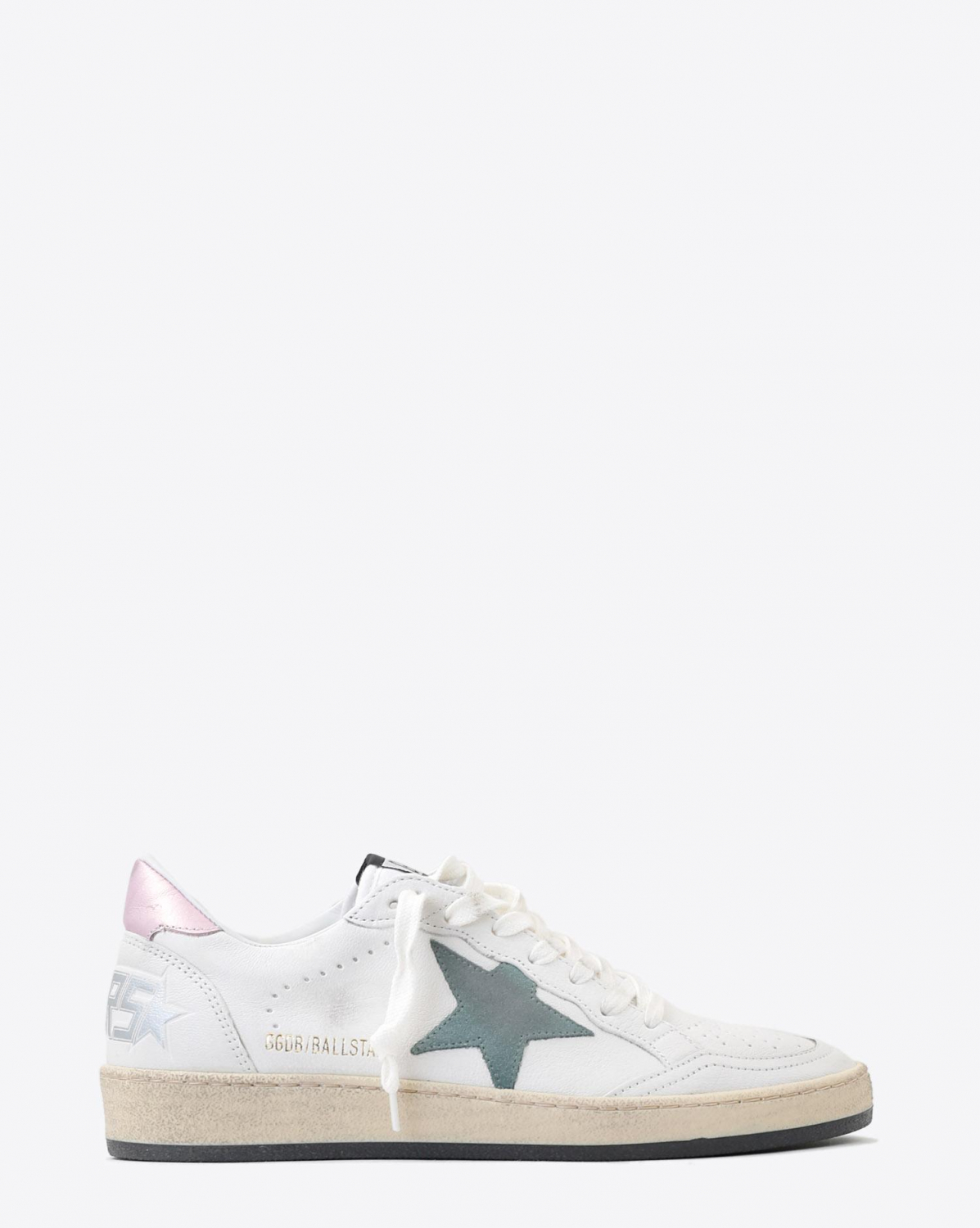 Golden Goose Woman Pré-Collection Sneakers Ball Star - White- Pink Laminated - Green Star