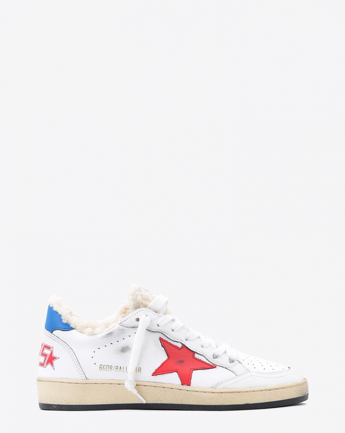 Golden Goose Woman Pré-Collection Sneakers Ball Star - White Shearling - Red Star