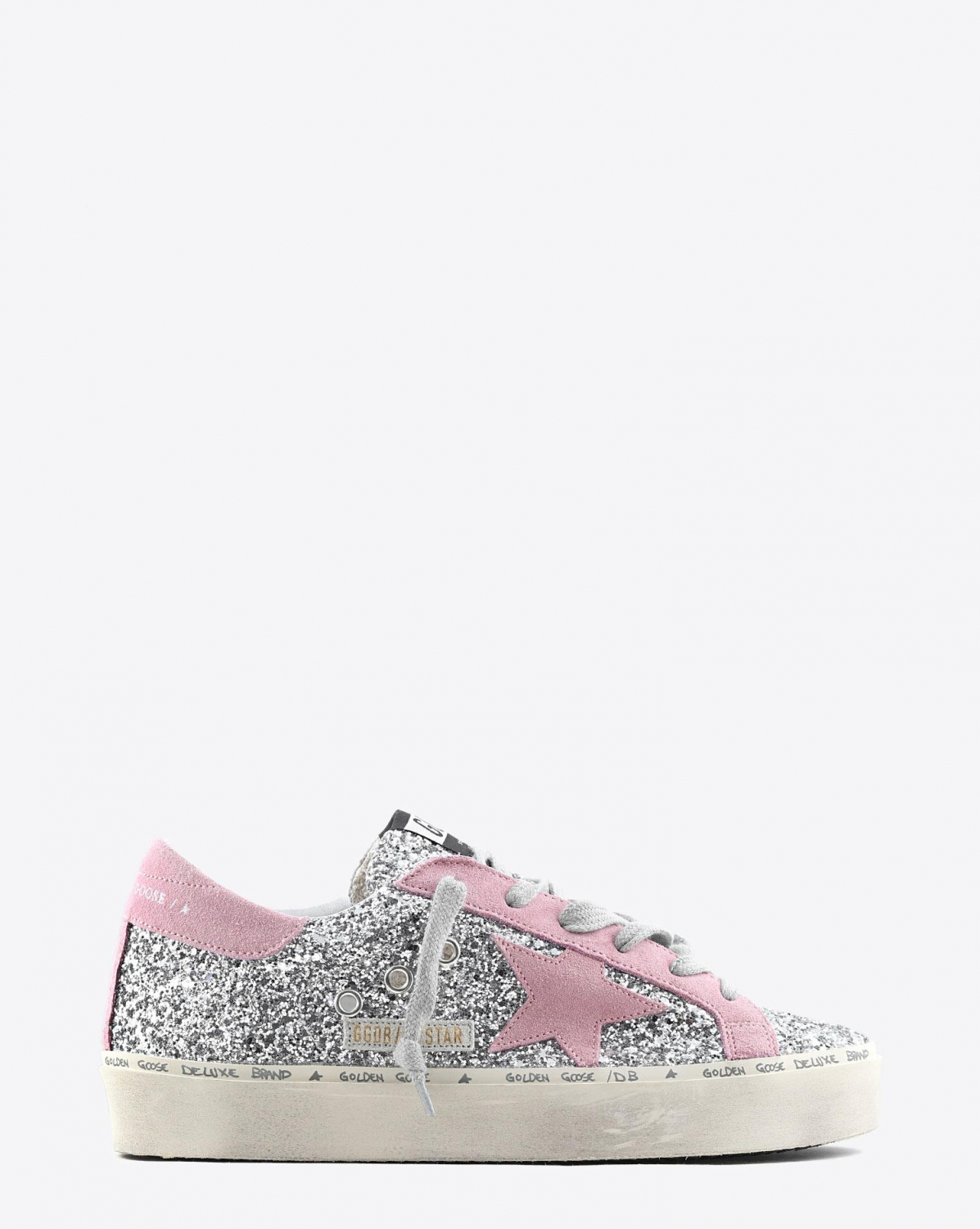 Golden Goose Woman Pré-Collection Sneakers Hi Star - Silver Glitter - Pink Suede Star