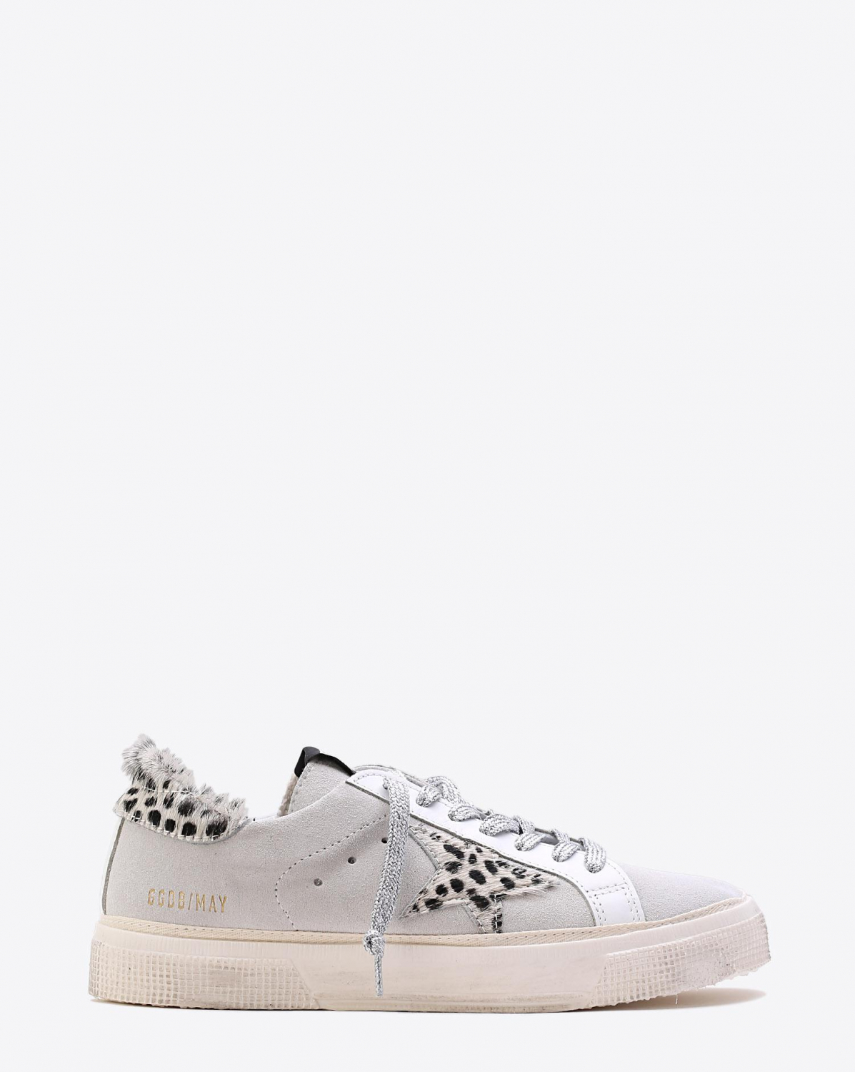 Golden Goose Woman Pré-Collection Sneakers May White Suede Leopard Star