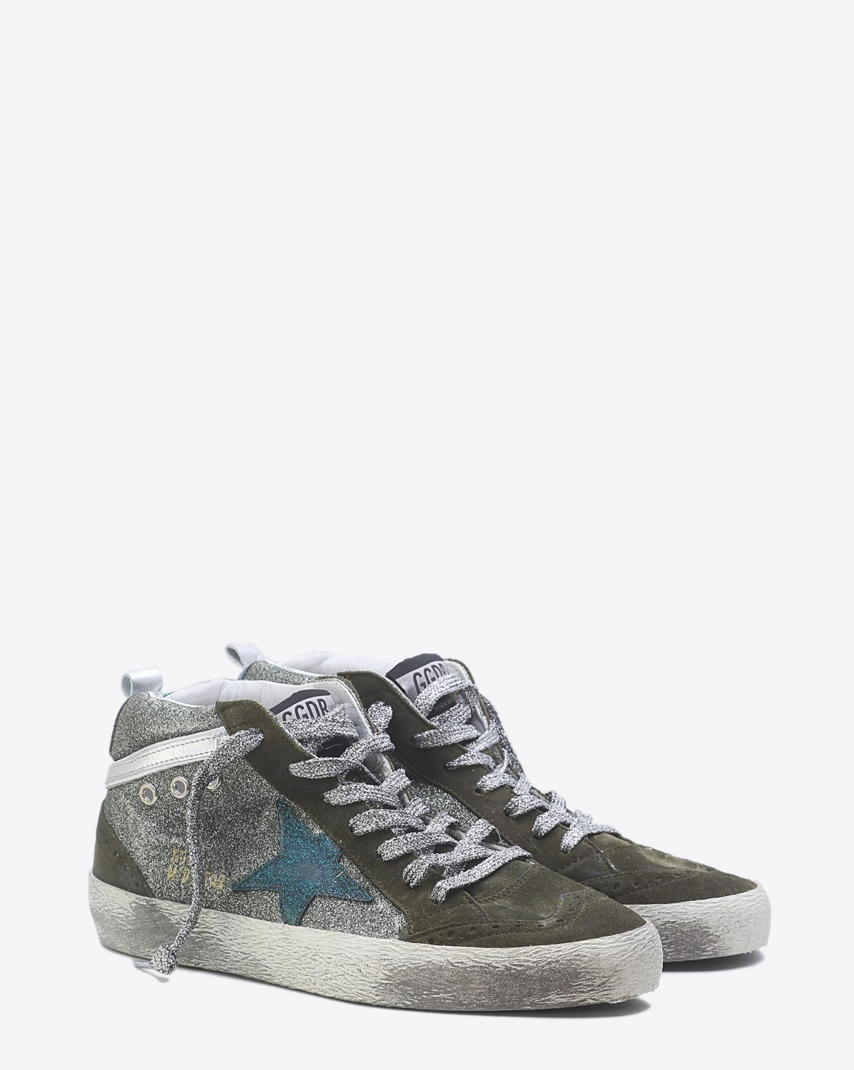 Golden Goose Woman Pré-Collection Sneakers Mid Star - Green Glitter
