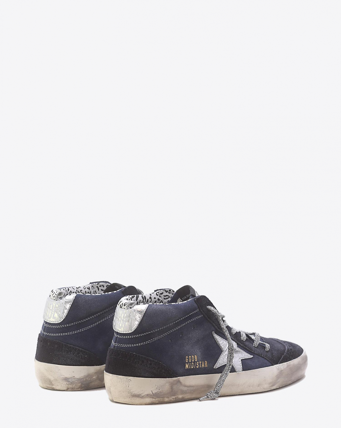 Golden Goose Woman Pré-Collection Sneakers Mid Star Indigo Suede-Crackled Silver Star
