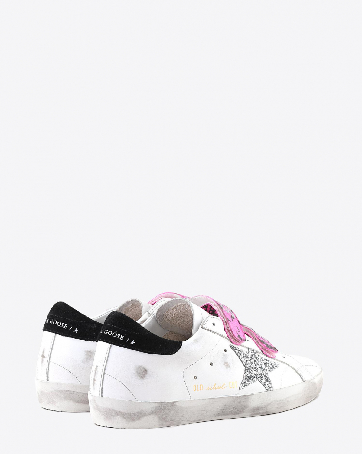 Golden Goose Woman Pré-Collection Sneakers Old School -White Leather - Fuxia Printed