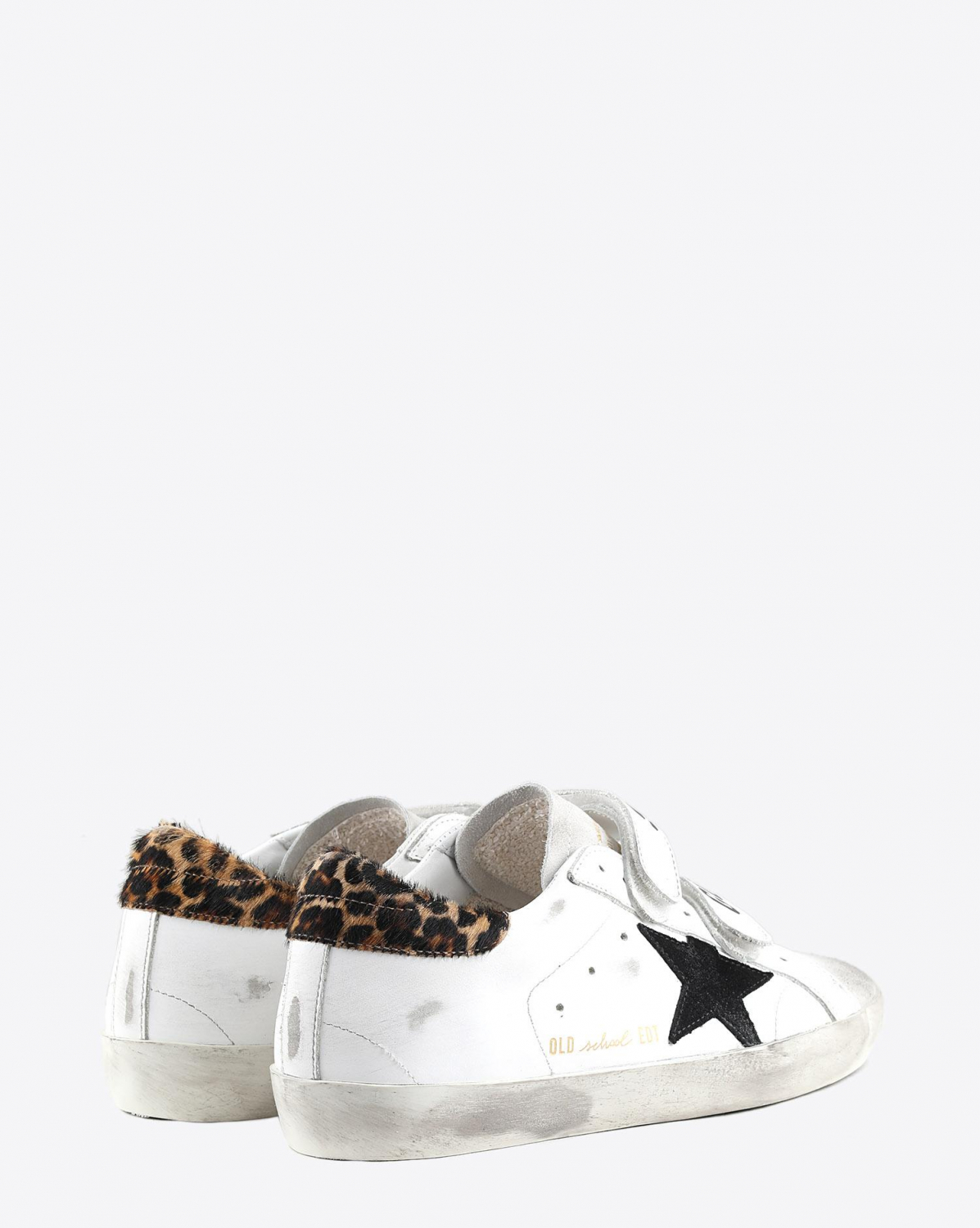 Golden Goose Woman Pré-Collection Sneakers Old School - White Leather - Leopard Pony
