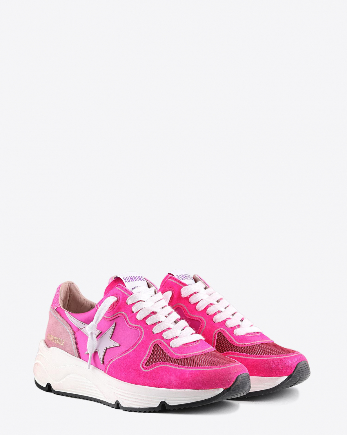Golden Goose Woman Pré-Collection Sneakers Running Sole - Fuxia Suede - Pink Star - Glitter