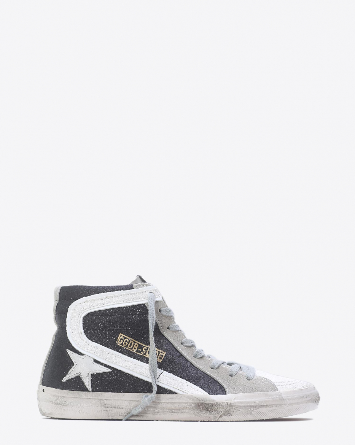 Golden Goose Woman Pré-Collection Sneakers Slide - Black Glitter White Star