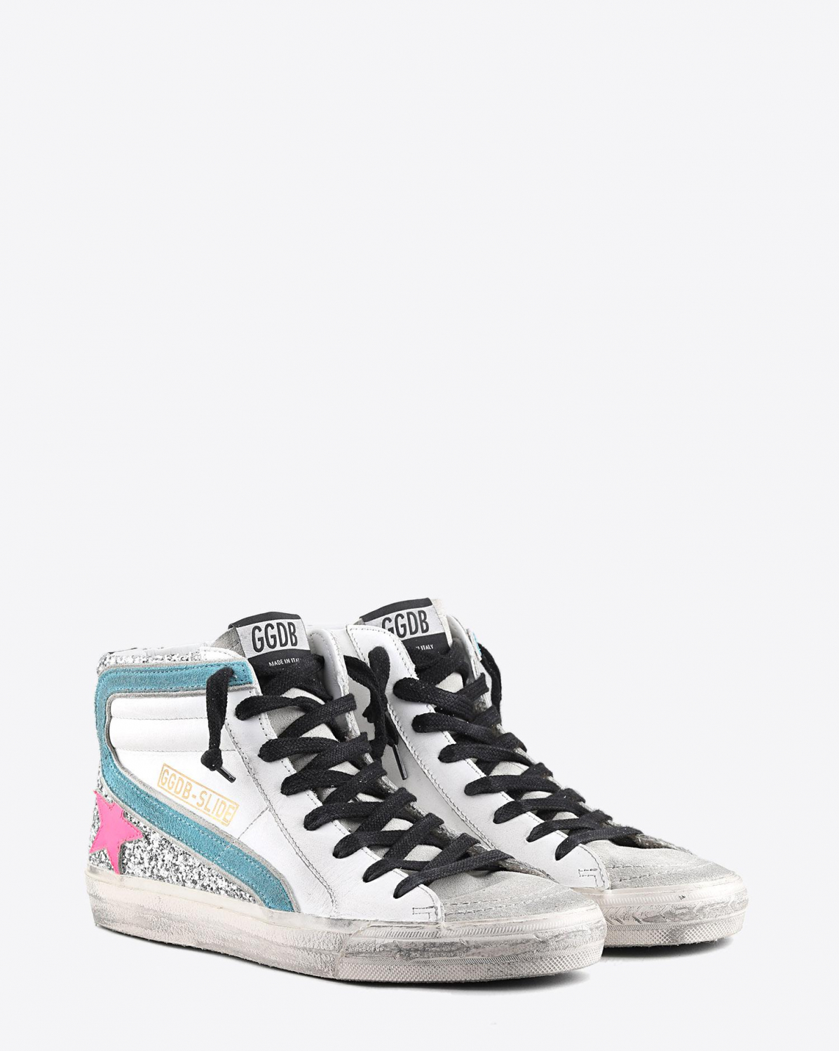 Golden Goose Woman Pré-Collection Sneakers Slide - White Leather - Silver Glitter - Fuxia Star
